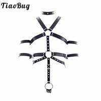 TiaoBug PU Leather Adjustable Sexy Bondage Men Full Body Chest Harness Restraint O ring Rivet Collar Erotic Men BDSM Bondage Set