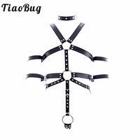 TiaoBug PU Leather Adjustable Sexy Men Full Body Chest Harness Bondage Restraint O ring Rivet Collar Erotic Men BDSM Bondage Set