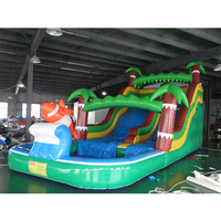 China factory sales PVC amusement park giant inflatable bouncer pool water slide with blower