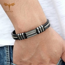 Punk Men Bracelet Jewelry Mens Stainless Steel Bracelets with Chain Link Silicone Wristband Bangle Gift heren armband