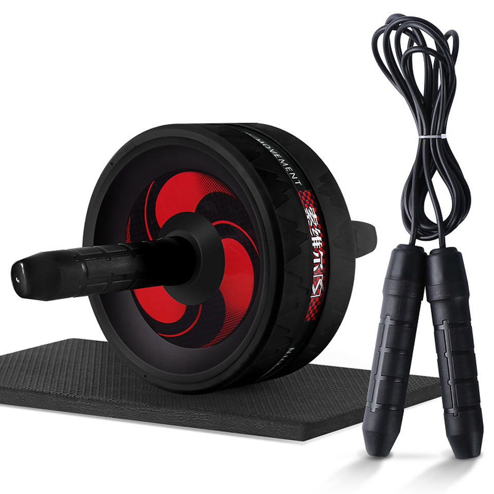 Wheel Roller With Mat No Noise 2 In 1 Ab Roller&Jump Rope Muscle Workout Abdominal Fitness Exercise Equipment Ab Roller