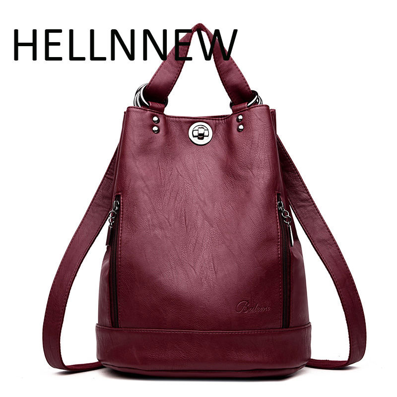 HELLENNEW Top PU Leather Backpacks College Students Double Shoulder Bags Designer Backpack Multi Function Bags Mochilas