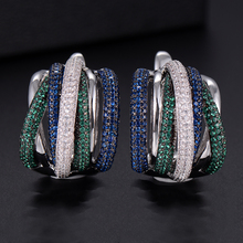 GODKI 25mm Luxury Twist Braided Colorful Full Mirco Pink Cubic Zirconia Setting European Wedding Clasp Earring Fashion Jewelry