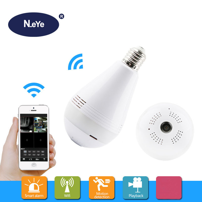 3MP Bulb Light Camera WiFi Panoramic IP Security Surveillance With IR Motion Detection Night Vision Two-Way Audio For Home