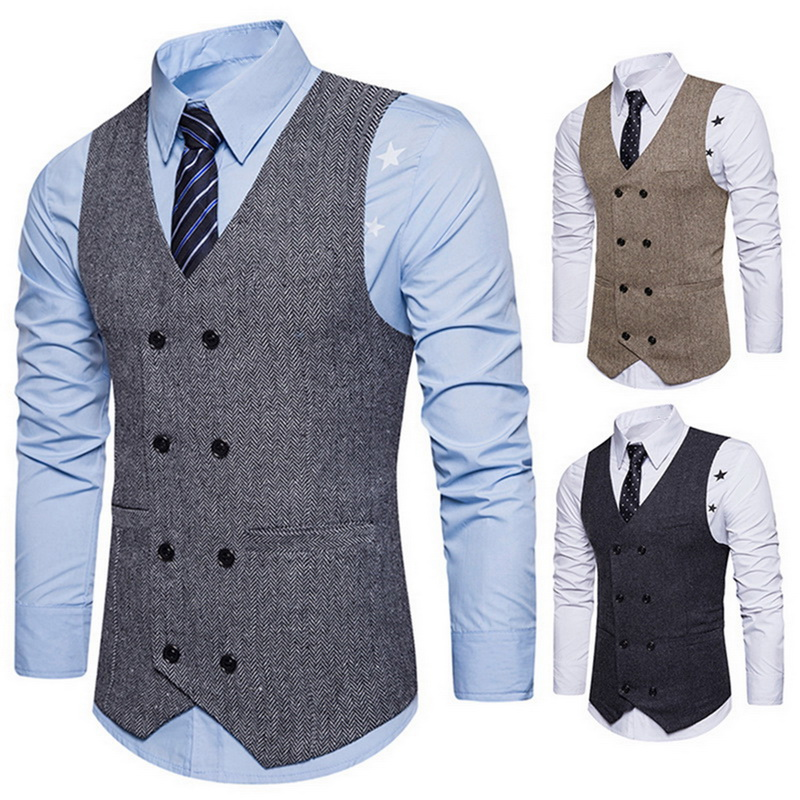 Laamei Men Vintage Business Vest Solid Slim Fit Vests&Waistcoats Casual Double Breasted Waistcoat Sleeveless Mens Formal Vest