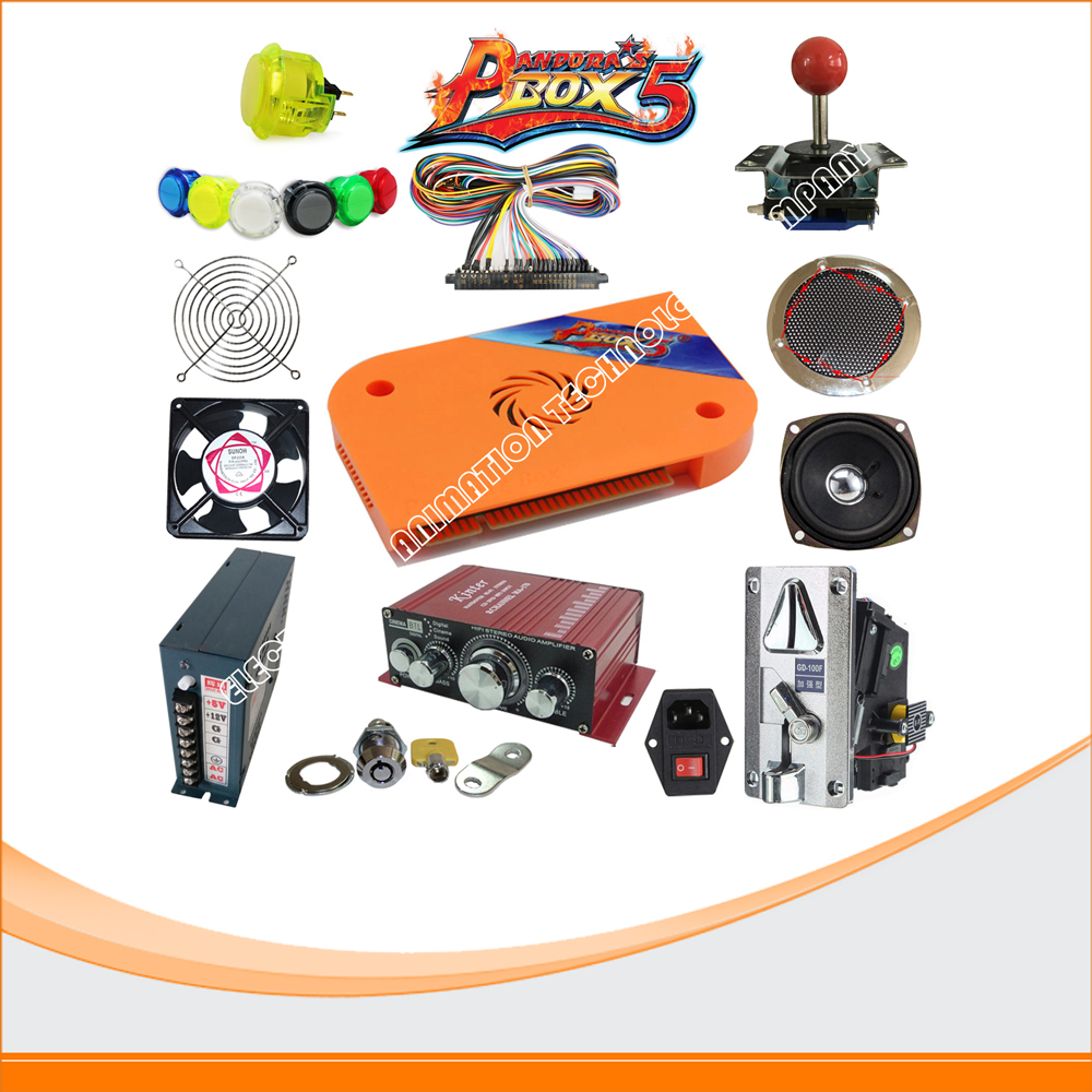 DIY Arcade parts Bundles Kit with pandora box 5 Joystick coin  Power with Arcade American Buttons for Arcade Machine
