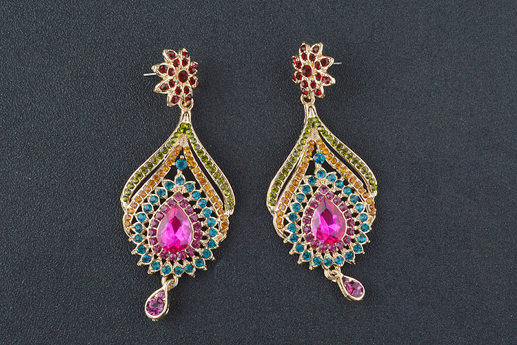 Statement India style Necklace earrings sets Bridal wedding Party Necklace Water Drop Type Golden Plated Crystal Jewelry Sets 11