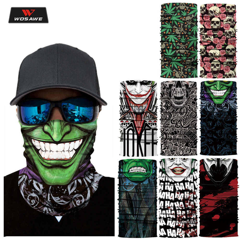 WOSAWE Motorcycle Mask Balaclava Motorbike Skull Ride Costume Scared Bandana Halloween Mask Ghost Face Shield Mascara Moto Scarf