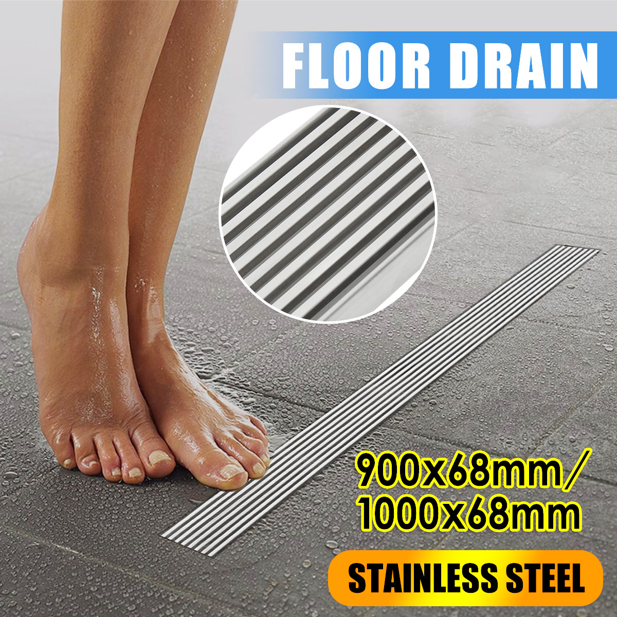 цена на 900/1000mm Odor-Resistant Floor Drain Cover Rectangle 304 Stainless Steel Shower Floor Grate Drain Linear Waste Bathroom Shower