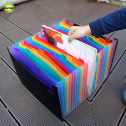 New 24 Pockets Expanding File Folder Portable Accordion File Folder A4 Expandable Business File Organizer with Label Classify