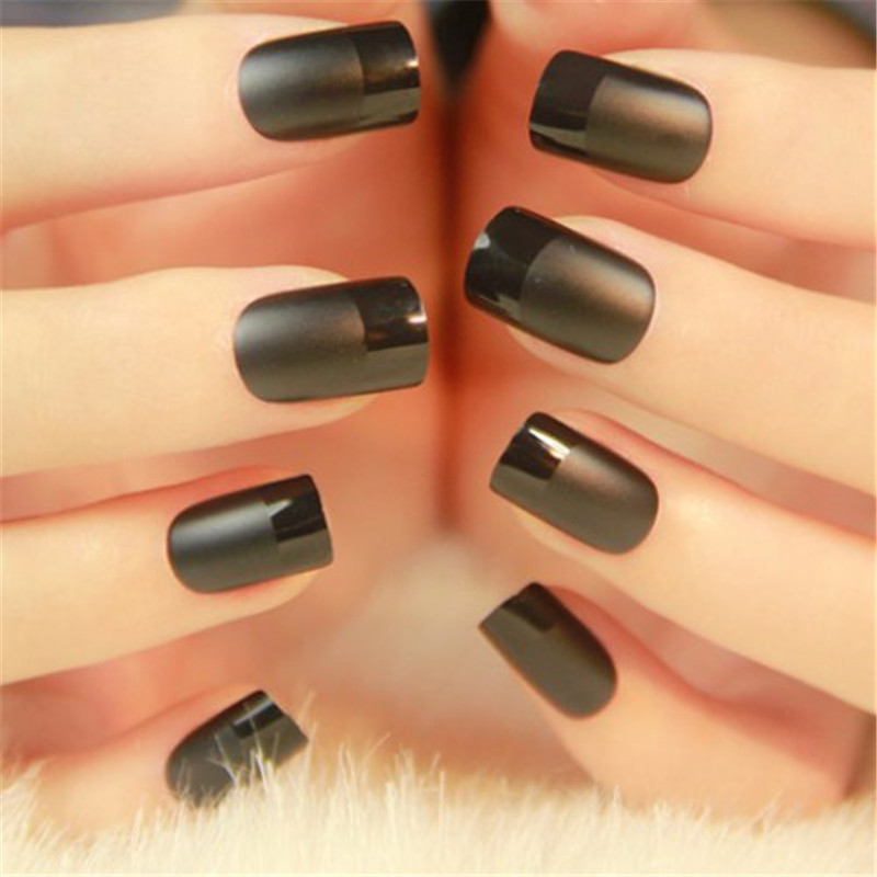24pcs Elegant Nail Art Fake Nails Matte Black French Short Design ...
