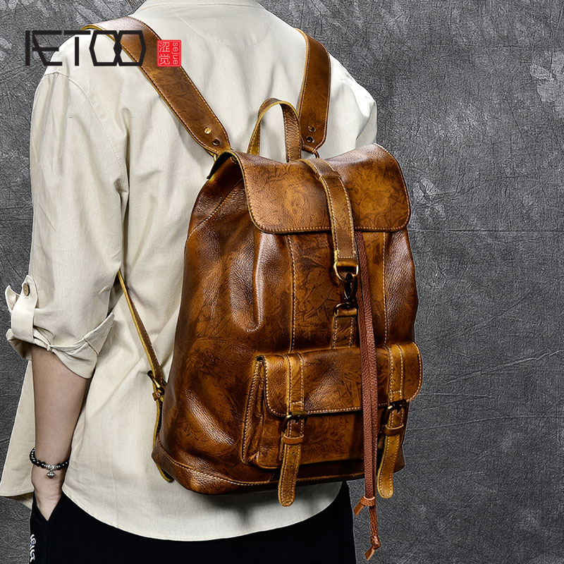 AETOO Men and women general leather Leather Shoulder Bag New Retro Leather Casual hand painted Backpack