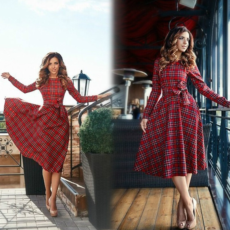 efb6ec7c678 fashion of the new autumn red plaid long sleeve dress women o-neck Bow casual  dresses Vestidos