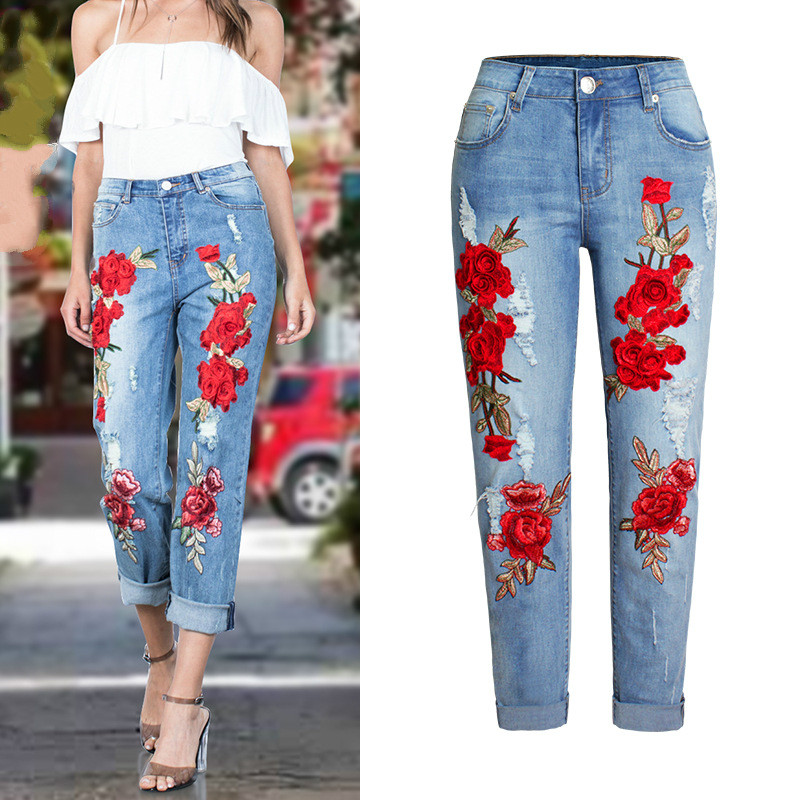 2017 Europe and the United States New Women's Elastic Loose Jeans Women Trousers Color Flowers 3D Stereo Embroidery Holes Jeans hanlu europe and the united states women s super elastic lace lvkong denim trousers fashion comfortable feet pants