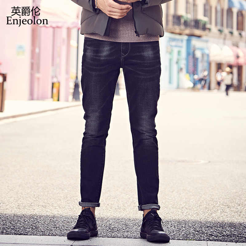 Enjeolon brand spring quality long full trousers jeans pants man cotton black solid males Causal jeans male NZ6721