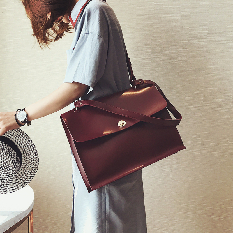 Retro Fashion Female Big Bag 2018 New Quality PU Leather Women's Designer Handbag Ladies Briefcase Tote Shoulder Messenger Bags