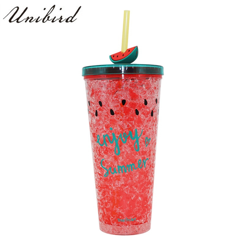 Unibird 450ml Cute Double Plastic Watermelon Ice Bottle with Straw Cooling Fruit Bottle for Kids School Drinkware Enjoy Summer