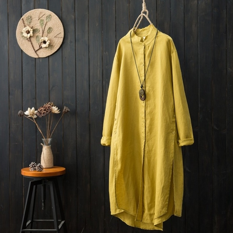 Long shirt female Chinese style yellow women clothing blouse 2018 long kimono female ladies womens tops
