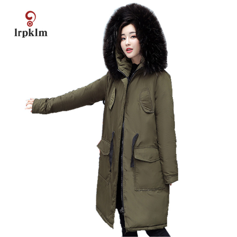 2017 New Female Big Fur Collar Hooded Long Winter Parkas Thick Women Cotton Padded Coat Ladies Warm Casul Outerwear Black PQ018 women winter jacket 2017 new fashion ladies long cotton coat thick warm parkas female outerwear hooded fur collar plus size 5xl