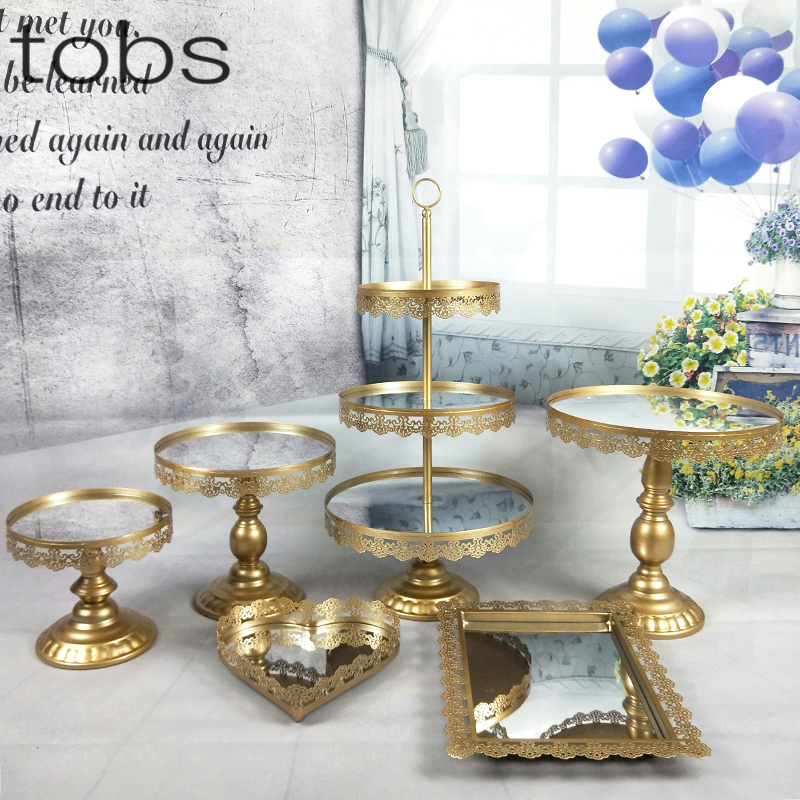 1pcs-7pcs Mirror Wedding Decoration  Tier Cupcake Display Gold Metal Cake Stand