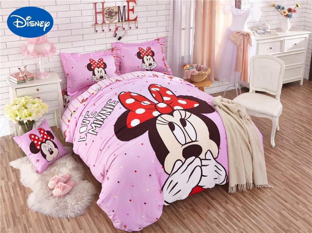 Minnie souris couette ensembles de literie SingleTwin complet reine couvre-lits Disney dessin animé couettes coton bébé filles Hoom décor rose