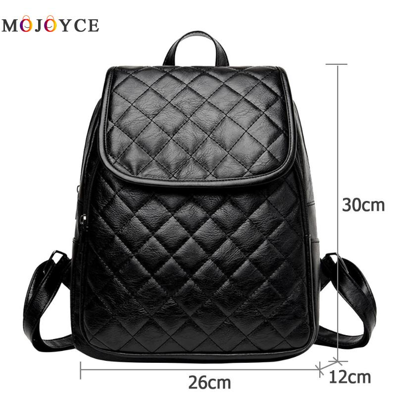Classic Women Zipper Diamond Lattice Leather Backpacks Teenage Girls Travel Shoulder Back Pack Mochila Feminina #6
