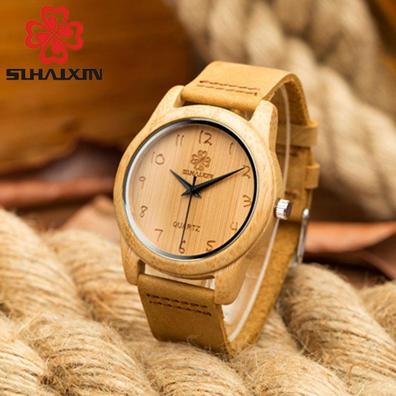 Mode bambu trä klocka herr armband äkta läderband trä klockor - Herrklockor