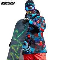 GSOU Снежный бренд лыжные куртки мужские непромокаемые лыжные Лыжная куртка зимние уличные спортивные Снежная одежда мужские лыжные Сноубор
