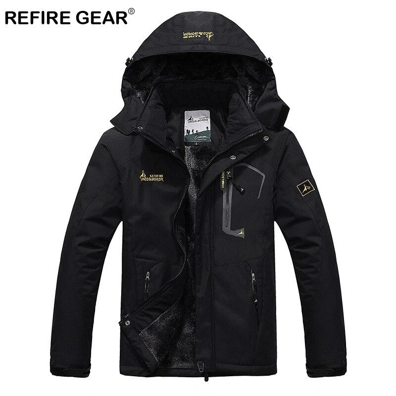 ReFire Gear Waterproof Outdoor Sport Hiking Jacket Men Winter Thermal Hooded Fleece Windbreaker Jackets Camping Skiing