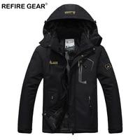 ReFire Gear Waterproof Outdoor Sport Hiking Jacket Men Winter Thermal Hooded Fleece Windbreaker Jackets Camping Skiing Mountain