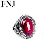 925 Silver Ring Synthetic Red Corundum Stone 100% Pure S925 Sterling Solid Silver Rings for Women Jewelry