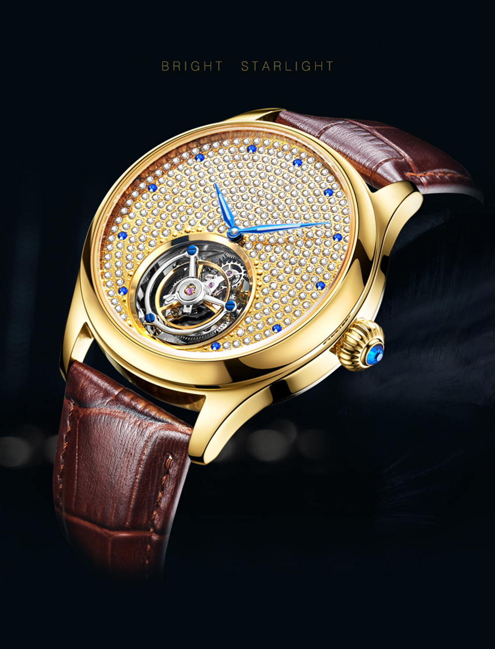 2019 Real Tourbillon Mechanical Hand Wind Sapphire Mens Watches Top Brand Luxury Rhinestone Clock men Gold Relogio Masculino 2
