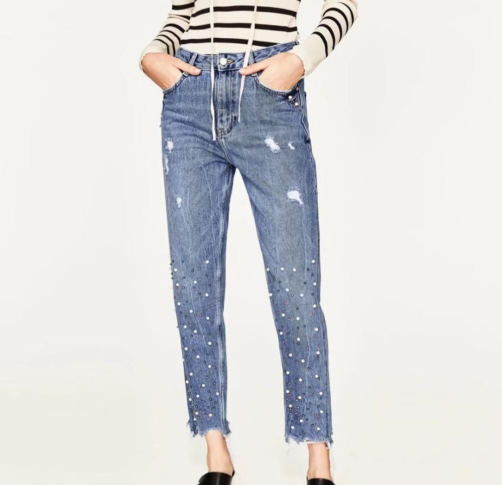 2017 Novio Agujeros Vintage Casual Vaqueros Clavo Weweya Jeans Para Cordón  De Pantalones Mujeres Mom Las ... 2f131bfcedab