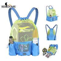 Women Men Beach Backpack Drawstring Mesh Net Summer Swimming Bag Swim Rucksack Waterproof Bolsa Deporte Outdoor Sport XA164D