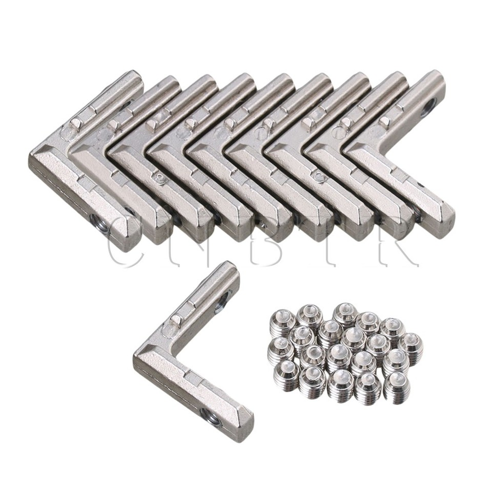 2020 Corner Connector Joint Bracket Silver Carbon Steel Aluminum Pack of 10