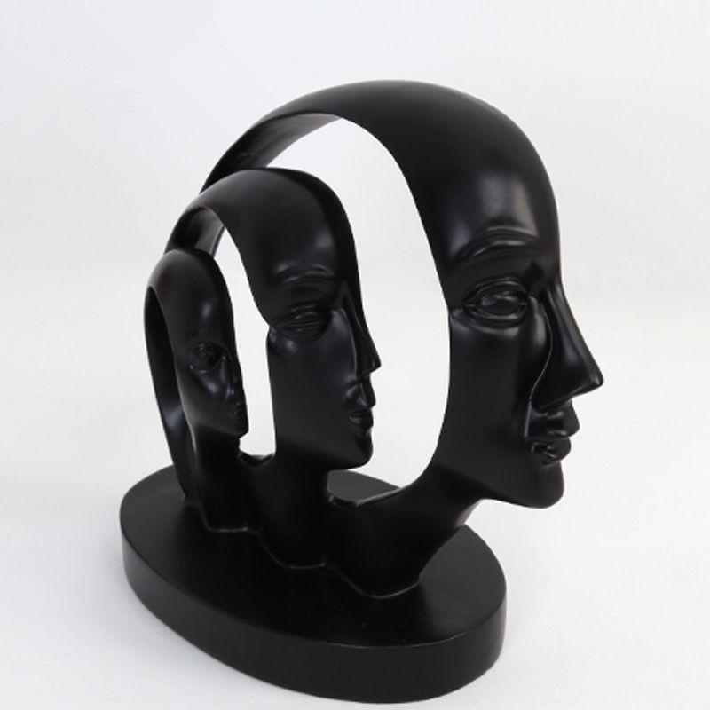 Penser visage 3 visage Figurines ornements maison bureau élégant salon bureau Table décoration Art décoration résine artisanat