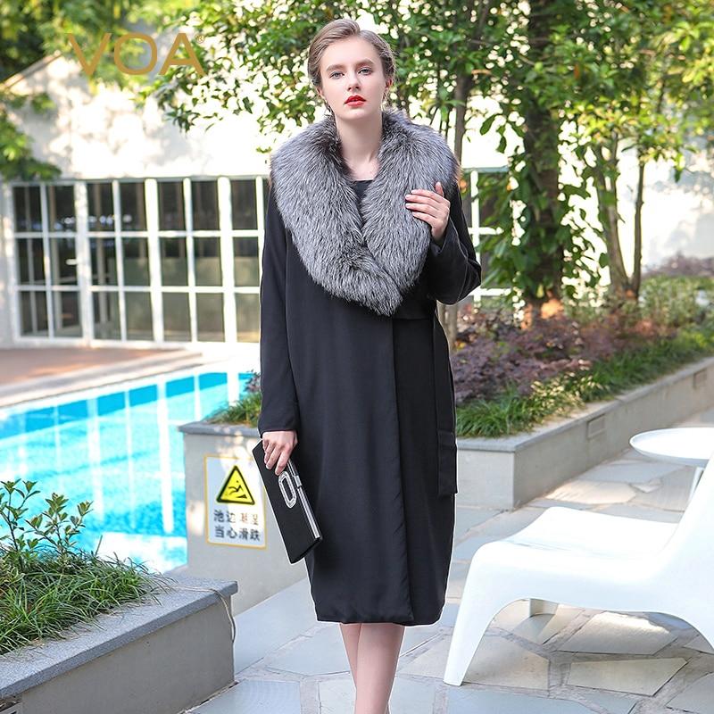 VOA heavy silk silver fox Nagymaros collar black coat  long straight sashes button parkas M7300