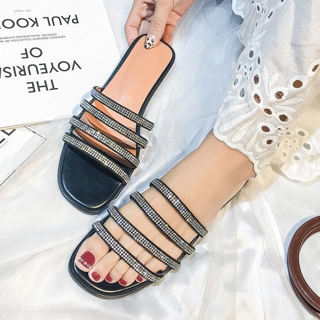 Koovan Rhinestone Women's Slipppers 2019 New Chain Rhinestone Shoes Female Outdoor Summer Flats Bottom Cool Beach Resort