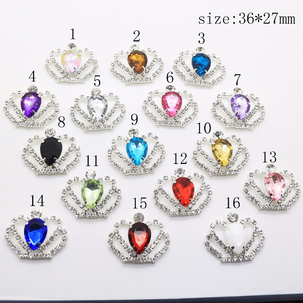 New Hot 10Pcs/Lot Mix Color 27*36mm Crown Diy Jewelry Accessories Rhinestone Acrylic Flat Handwork Flatback Brooches Decoration