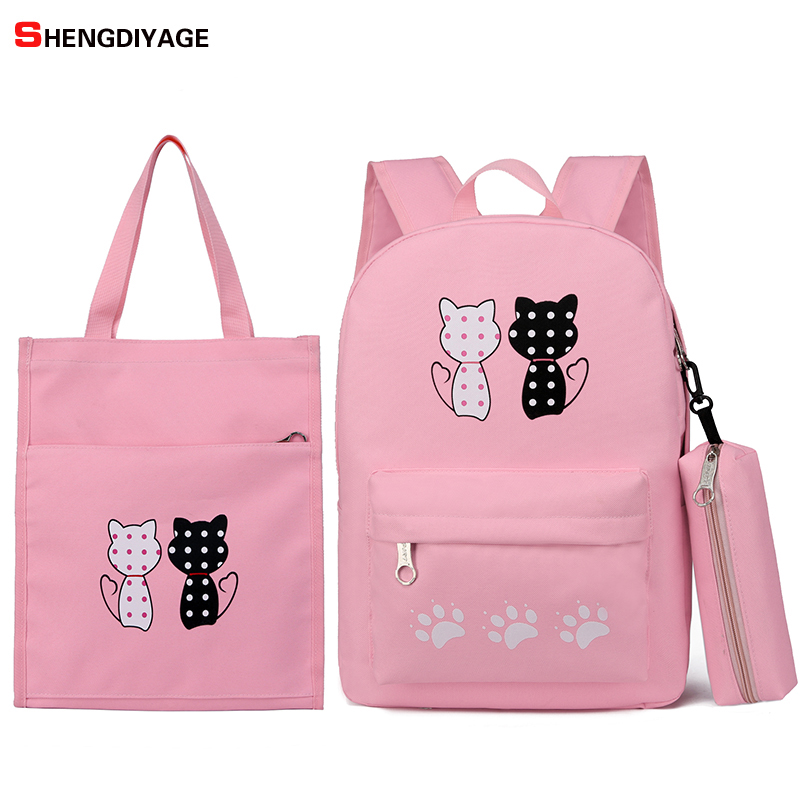 3pcs New Junior High School Student Backpacks School Bag Printing Cute Cat Backpack For Girls Rucksack Moclila plecak szkolny image
