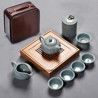 Travel tea set 9 piece suit carrying case Household simple small Japanese ceramic teacup ruyao Kungfu tea set dry tea tray