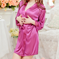 Women Sexy Lace Robe Sleepwear Lingerie Satin Open Front Belted Nightgown Sleepwear