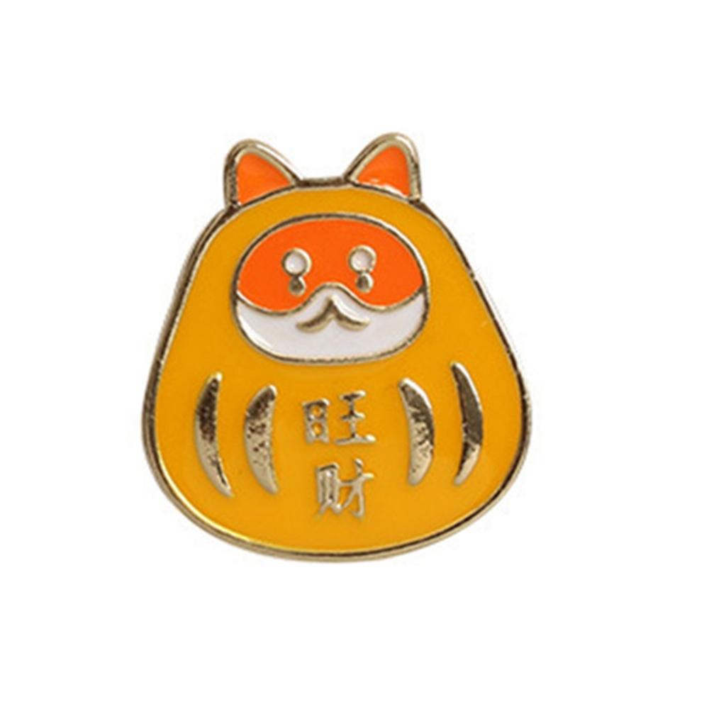 Korean Cartoon Brooch Praying Dharma Men and Women Couple Students Cute Simple Buckle Pin