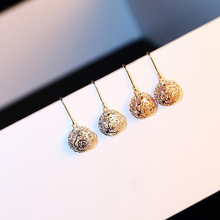 Hollowed-Out Flower Dangle Earrings for Women Eardrop Rose Camellia Ear Hook Alloy Inlaid With Zircon Earrings Fashion Jewelry недорого