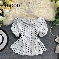 RUGOD Korean polka dot printed white women blouse Fashion V neck single breasted ladies shirts Elegant ruffles puff sleeve tops