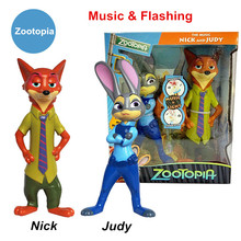 Free Shipping Zootopia 25-26cm Dolls Rabbit Judy Hopps Fox Nick Wilde Action Figure With Music Flash Lights Electronic Toys