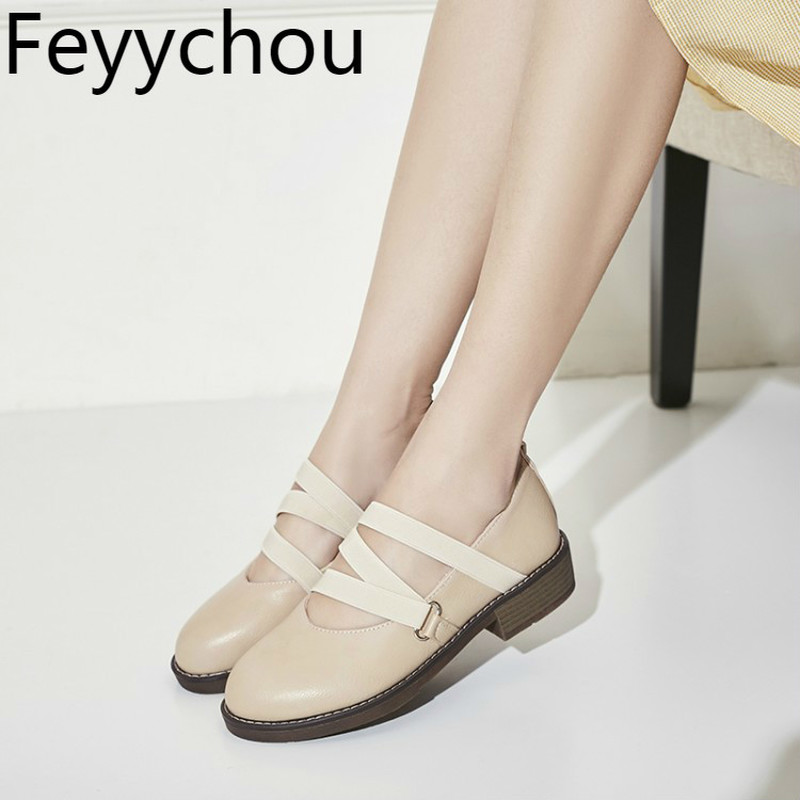 Women Pumps Mary Janes Shoes Med Heel Pu Round Toe Elastic Band 2018 Spring Autumn Sexy New Fashion Casual Office Black Beige