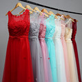 2017 Vestido de festa A-Line Scoop Tulle Evening Dresses With Appliques Beading Pearls Lace-Up Floor Length Prom Dresses