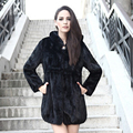 2016 New Fashion Women Genuine Mink Fur Coat With Hood Real Mink Fur Jacket Winter Natural Fur Garment Plus Size S-6XL