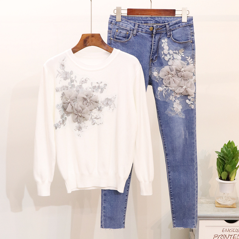 Spring Autumn Women Beading Flowers Long sleeve Knitted Sweater Denim Pants Two Piece Set Casual Pencil